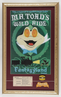 Disneyland Mr. Toad's Wild Ride 15x24 Custom Framed Display with Vintage Ticket, Ride Pin, and Cloth Patch at PristineAuction.com