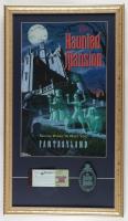 Disneyland Haunted Mansion Fantasyland 15x26 Custom Framed Display with Vintage Ticket Booklet & Ceramic Emblem at PristineAuction.com