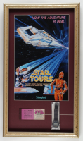 Disneyland Star Tours 15x26 Custom Framed Display with Vintage Ticket Booklet & Ride Opening Digital Watch at PristineAuction.com