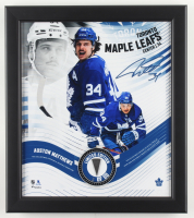 Auston Matthews LE Maple Leafs 15x17 Custom Framed Game-Used Puck Piece Display at PristineAuction.com