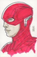 "Tom Hodges - Barry Allen's Flash - Ezra Miller - DC Comics - Signed ORIGINAL 5.5"" x 8.5"" Color Drawing on Paper (Pristine Authentic COA) at PristineAuction.com"