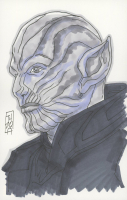 """Tom Hodges - Skrull - Marvel Comics - Signed ORIGINAL 5.5"""" x 8.5"""" Color Drawing on Paper (Pristine Authentic COA) at PristineAuction.com"""