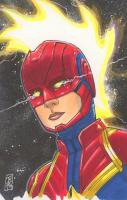 "Tom Hodges - Captain Marvel - Marvel Comics - Signed ORIGINAL 5.5"" x 8.5"" Color Drawing on Paper (Pristine Authentic COA) at PristineAuction.com"