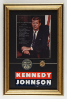 John F. Kennedy 13.5x20.5 Custom Framed 1960's Presidential Lithograph Display with 1960 Bumper Sticker 1960 Vari-Vue Blinker Pin and Vintage Encapsulated Kennedy Coin at PristineAuction.com