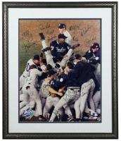 1998 Yankees 22x26 Custom Framed Photo Display Team-Signed by (20) with Derek Jeter, Joe Torre, Mariano Rivera, Tim Raines (Steiner Hologram) at PristineAuction.com