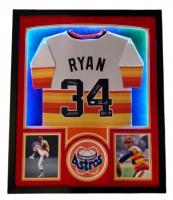 "Nolan Ryan Signed 35x42 Custom Framed LED-Backlit Jersey Display Inscribed ""7 No Hitters"", ""324 Wins"", ""H.O.F. '99"" & ""5,714 K's"" (PSA COA) at PristineAuction.com"