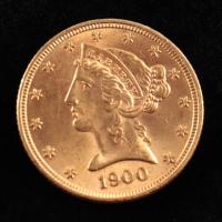1900 $5 Liberty Head Half Eagle Gold Coin at PristineAuction.com