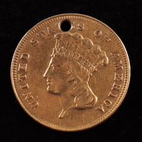 1870 $3 Indian Holed Gold Coin at PristineAuction.com