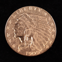 1909 $2.50 Indian Head Half Eagle Gold Coin at PristineAuction.com