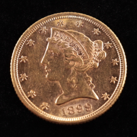 1899-S $5 Liberty Head Half Eagle Gold Coin at PristineAuction.com