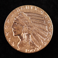 1909-D $5 Liberty Head Half Eagle Gold Coin at PristineAuction.com