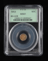 1853 Round California Fractional Half Dollar Gold Coin (PCGS MS61) at PristineAuction.com