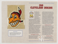 """Official Cooperstown Collection 1948 Retired Chief Wahoo Early Cleveland Indians Jersey Patch Card with 9"""" x 12"""" Scorecard at PristineAuction.com"""