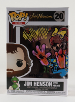 """Guy Gilchrist Signed """"Jim Henson with Kermit"""" Icons #20 LE Funko Pop! Vinyl Figure Inscribed """"Zobie Exclusive,"""" """"Eleven 011!"""" & """"Stranger Meeps"""" with Hand-Drawn Meep Sketch (JSA COA) at PristineAuction.com"""