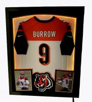 Joe Burrow Signed Bengals 33x40 Custom Framed Jersey Display with LED Lights (Fanatics Hologram) at PristineAuction.com