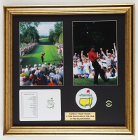 Tiger Woods 20x20 Custom Framed Photo with Original Augusta National Scorecard, Masters Ball Market, & Masters Cloth Patch at PristineAuction.com