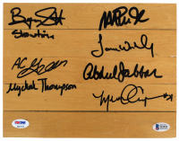"""Lakers 8x10 Floor Piece Signed by (7) Including Magic Johnson, Byron Scott, Kareem Abdul-Jabbar, A.C. Green, James Worthy, Michael Cooper, & Mychal Thompson Inscribed """"Showtime"""" & """"#1 Pick 1978"""" (PSA COA & Beckett COA) at PristineAuction.com"""