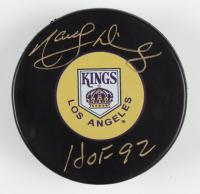 """Marcel Dionne Signed Kings Logo Hockey Puck Inscribed """"HOF 92"""" (Schwartz COA & Frozen Pond Hologram) at PristineAuction.com"""