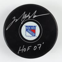 "Mark Messier Signed Rangers Logo Hockey Puck Inscribed ""HOF 07'"" (Schwartz COA) at PristineAuction.com"