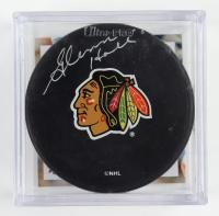 Glenn Hall Signed Blackhawks Logo Hockey Puck with Display Case (Schwartz COA & Frozen Pond Hologram) at PristineAuction.com