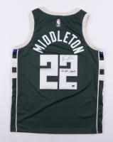 "Khris Middleton Signed Bucks Jersey Inscribed ""2021 NBA Champs"" (Schwartz COA) at PristineAuction.com"