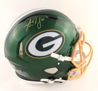 Aaron Jones Signed Packers Full-Size Authentic On-Field Flash Alternate Speed Helmet (Beckett Hologram) at PristineAuction.com