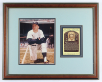 Mickey Mantle Signed Yankees 17x20 Custom Framed Photo Display With Hall of Fame Plaque Postcard (Beckett LOA) (See Description) at PristineAuction.com