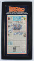 """""""Back to the Future"""" 16.5x30.5 Custom Framed Newspaper Signed by (5) with Michael J. Fox, Christopher Lloyd, Thomas F. Wilson, & Lea Thompson Inscribed """"Biff"""" & """"Slacker"""" (Beckett LOA & PSA Hologram) (See Description) at PristineAuction.com"""