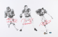 Jason White, Billy Sims & Steve Owens Signed LE Oklahoma Sooners 11x17 Lithograph with (3) Heisman Inscriptions (Beckett LOA) at PristineAuction.com