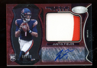 Justin Fields 2021 Certified Freshman Fabric Mirror Signatures Red Etch #204 at PristineAuction.com