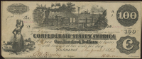 1862 $100 One-Hundred Dollars Confederate States of America Richmond CSA Bank Note at PristineAuction.com