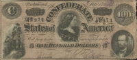 1864 $100 One-Hundred Dollars Confederate States of America Richmond CSA Bank Note at PristineAuction.com