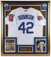Jackie Robinson 33x37 Custom Framed LE Jersey Display with (2) 50th Anniversary Pins at PristineAuction.com