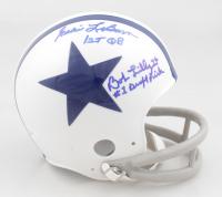 "Bob Lilly & Eddie LeBaron Signed Cowboys Mini Helmet Inscribed ""#1 Draft Pick"" & ""1st QB"" (JSA COA) (See Description) at PristineAuction.com"
