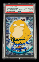 """Michael Haigney Signed 1999 Pokemon TV Animation Series 1 #54 Psyduck Inscribed """"Psyduck"""" (PSA Encapsulated) at PristineAuction.com"""