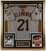 Roberto Clemente 33x37 Custom Framed Jersey Display with 1960 Official World Series Pin at PristineAuction.com