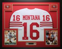 Joe Montana Signed 35x43 Custom Framed Jersey Display (JSA COA) at PristineAuction.com
