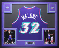 Karl Malone Signed 35x43 Custom Framed Jersey Display (Beckett COA) at PristineAuction.com
