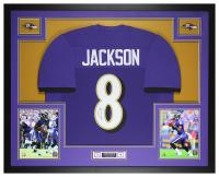 Lamar Jackson Signed 35x43 Custom Framed Jersey Display (JSA COA) at PristineAuction.com
