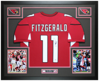 Larry Fitzgerald Signed 35x43 Custom Framed Jersey Display (Beckett COA) at PristineAuction.com