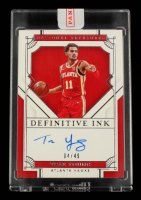 Trae Young 2020-21 Panini National Treasures Definitive Ink #11 #4/49 at PristineAuction.com