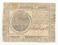 1775 $7 Seven-Dollars - Continental - Colonial Currency Note at PristineAuction.com
