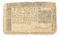 1775 $5 Five-Dollars - Continental - Colonial Currency Note at PristineAuction.com
