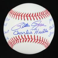 "Pete Rose Signed OML Baseball with Multiple Career Stat Inscriptions & ""Charlie Hustle"" (Beckett COA) at PristineAuction.com"
