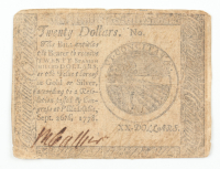 1778 $20 Twenty-Dollars - Continental - Colonial Currency Note at PristineAuction.com