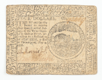 1776 $4 Four-Dollars - Continental - Colonial Currency Note at PristineAuction.com
