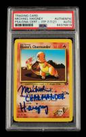 "Michael Haigney Signed 2000 Pokemon Gym Challenge Unlimited #60 Blaine's Charmander Inscribed ""Charmander"" (PSA Encapsulated) at PristineAuction.com"