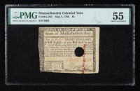 1780 $8 Eight-Dollars - Massachusetts - Colonial Currency Note (PMG 55) at PristineAuction.com