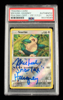 """Michael Haigney Signed 2019 Pokemon Sun and Moon Hidden Fates Reverse Foil #50 Snorlax Inscribed """"Snorlax"""" (PSA Encapsulated) at PristineAuction.com"""