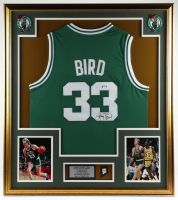 Larry Bird Signed 32x37 Custom Framed Jersey Display with 1986 Celtics Champions Pin (PSA COA) at PristineAuction.com